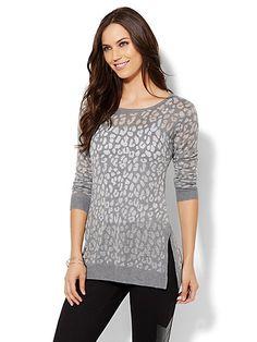 Animal-Print Burnout Sweater  - New York & Company