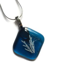 Blue Aqua Glass Necklace with Silver Chain- Fused Fossil Glass