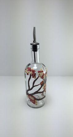 Soap Dispenser Olive Oil Bottle Cherry by KitchenBarHomeDecor