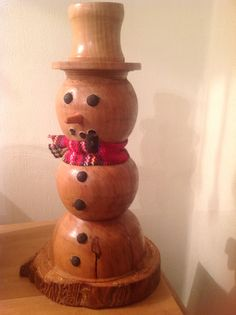 Wood turned snowman from a apple tree