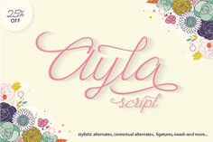 Explore amazing freebies from Ianmikraz Studio - Free Fonts : Ayla Script is a cute script typeface. Ayla Script good for any project such as logo, wedding Script Font Style, Script Typeface, Handwritten Script Font, Cursive Fonts, Calligraphy Fonts, Typography Fonts, Hand Lettering, Free Typeface, Caligraphy