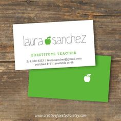 46 best substitute teacher images on pinterest teacher business substitute business card applelicious apple printable friedricerecipe Choice Image