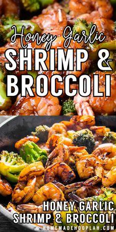 Honey Garlic Shrimp and Broccoli! Browned honey garlic shrimp with tender broccoli - a super easy dinner that packs a wa Shrimp Recipes For Dinner, Shrimp Recipes Easy, Seafood Dinner, Chicken Recipes, Meals With Shrimp, Garlic Shrimp Recipes, Grilling Ideas For Dinner, Sauteed Shrimp Recipe, Shrimp Fajita Recipe