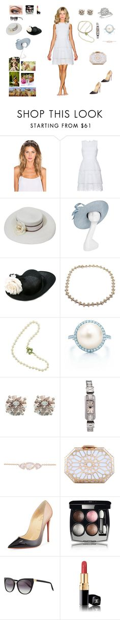 """""""Kentucky Derby"""" by barrybaumbiz ❤ liked on Polyvore featuring Lelet NY, Antonio Berardi, Chanel, Philip Treacy, Harry Winston, Tiffany & Co., Lucien Piccard, Luna Skye, Christian Louboutin and Barton Perreira"""