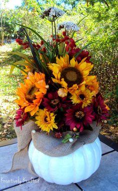 XL Fall Centerpiece Autumn Centerpiece White Pumpkin Sunflower Fall Thanksgiving Arrangement  X LARGE