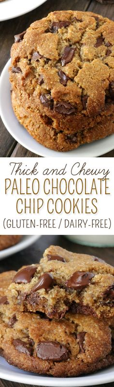 These paleo chocolate chip cookies are thick, chewy and have the perfect texture along with a subtle nuttiness thanks to almond flour and almond butter {grain-free, gluten-free, dairy-free} Made with The best paleo cookies i have ever made! Paleo Dessert, Healthy Sweets, Vegan Desserts, Dessert Recipes, Paleo Snack Recipes, Paleo Desert Recipes, Paleo Appetizers, Scd Recipes, Dinner Dessert