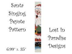 Peyote Bracelet Pattern - Santa Sings - Peyote Stitch Pattern (Buy any 2 and get one Free). $6.50, via Etsy.