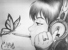 Dibujos a lapiz - rr collections Pencil Art Drawings, Art Drawings Sketches, Cute Drawings, Tumblr Tattoo, Drawing People, Art Girl, Amazing Art, Cool Art, Illustration