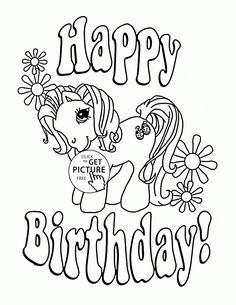 my little pony happy birthday coloring page for kids holiday coloring pages printables free - Printable Birthday Coloring Pages