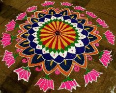 Rangoli is a traditional folk art of India. These decorative art designs of images and figures are made on the floor of living rooms, at the doorstep.