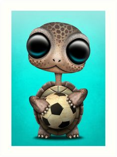 'Cute Baby Turtle With Football Soccer Ball' Art Print by jeff bartels – Lisonok - Baby Animals Giraffe Pictures, Cute Cartoon Pictures, Cartoon Pics, Cute Pictures, Cute Small Animals, Cute Funny Animals, Cute Baby Animals, Animals Beautiful, Baby Animal Drawings
