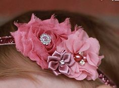 Baby flower headband pink or white rose design bow lace w faux pearls 6-24months
