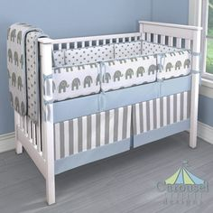 Custom baby bedding in White and Gray Stripe, Solid Navy, Gray Embrace, White and Gray Elephants. Created using the Nursery Designer® by Carousel Designs where you mix and match from hundreds of fabrics to create your own unique crib bedding. Baby Boy Crib Bedding, Baby Boy Cribs, Custom Baby Bedding, Crib Bedding Sets, Crib Mattress, Crib Sheets, Baby Blue Nursery, Blue Crib, Boy Blue