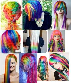 Rainbow colored hair has been tickling our colors fancy as of late. While unicorn and mermaid colored hues may look irresistible. Before you start coloring your hair with rainbow hair color Funky Hairstyles, Pretty Hairstyles, Layered Hairstyles, Hairstyle Men, Formal Hairstyles, Pelo Multicolor, Coiffure Hair, Mode Kawaii, Crazy Hair Days