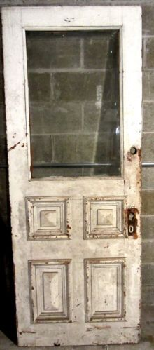 ~ ANTIQUE VICTORIAN DOOR WITH BEVELED GLASS ~ ARCHITECTURAL SALVAGE ~