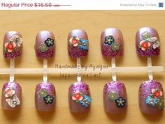 Summer SALE Japanese 3D fake nails Purple 22pieces with by Aya1gou, $15.35
