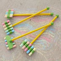 chalks taped together to make their mark making more colourful and fun!