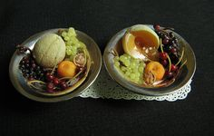 """Miniature fruit in sterling bowls (bowls measure a bit over 1"""") by Betsy Niederer"""