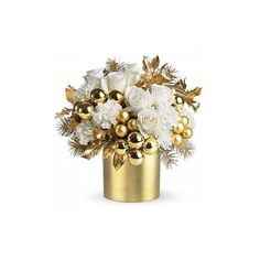 Golden Celebration Bouquet ($63) ❤ liked on Polyvore featuring home, home decor, floral decor, christmas, flowers, plants, backgrounds, fillers, detail and embellishment