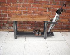 Banc de couloir avec rangement chaussure à la base & porte parapluie sur le côté, style chic industriel fait à la main