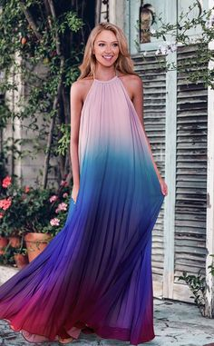$49.99 for this Chicnico My Fairy Chiffon Pleated Rainbow Maxi Dress! 2018 Spring Summer Fashion Gradient Rainbow Long Dress