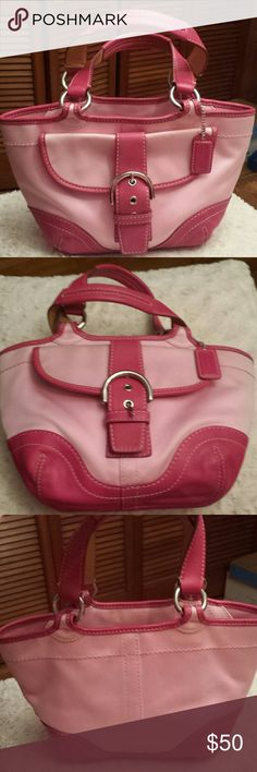 Coach Pink Soho Bag Coach Pink Leather and Canvas Hobo Bag, Creed 1881, Snap pocket outside front, Zippered top, Zippered pocket inside and 2 Slip pockets inside, Good Condition, some marks on leather see pic, a few marks on lining Coach Bags Hobos