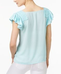 Maison Jules Smocked Flutter-Sleeve Top, Created for Macy's - White XXL