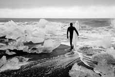 However there are parts of Iceland that remain almost primeval in their landscape. There are very few places in the world where you can find ice on the shores of a beach. | This Is What It's Like To Surf The Freezing Waters Of Iceland
