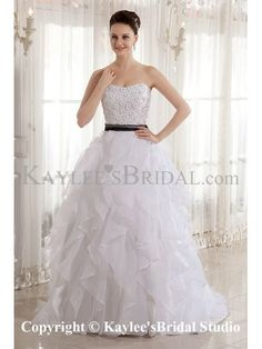 Organza Strapless Neckline Sweep Train Ball Gown Wedding Dress with Beading and Sash