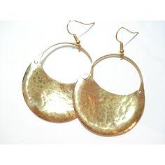 Handmade Gold Earrings, Bronze Hammered Hoop Earrings, Metalwork... (695 CZK) ❤ liked on Polyvore featuring jewelry and earrings