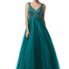 Green corset back beaded prom tulle prom dress #md03