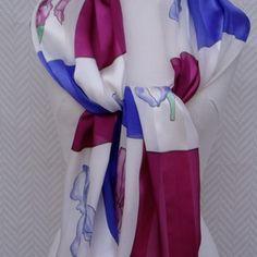 Echarpe étole foulard en mousseline et satin de soie violet bordeaux et  blanc 1c169716560