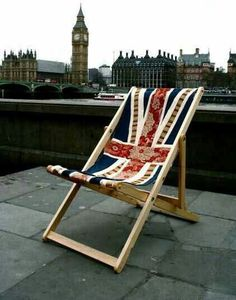 Union Jack Flag Deck Chair Recliner Folding Timber Frame by ByeBrytshi. Big Ben and London not included. Contemporary Outdoor Chairs, Union Jack Decor, Living In London, Union Flags, British Things, London Calling, British Isles, London England, Great Britain