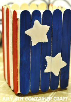 Patriotic Popsicle Stick Container