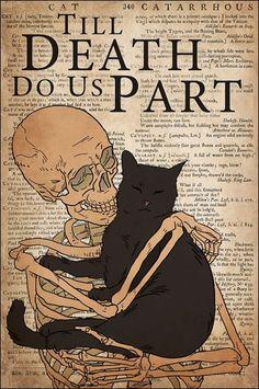 Cat Till Death Do Us Part Skull poster - Tagotee Black Cat Art, Cute Black Cats, Cute Cats, I Love Cats, Crazy Cat Lady, Crazy Cats, Black Cat Aesthetic, Cat Posters, Cat People