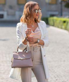 Pastel autumn🌸 (𝕣𝕖𝕜𝕝á𝕞) @rosetown_hungary silk top, blazer and beige belted pants @thomassabo_hu necklace @camelia_roma powderpink bag @eyelovesquad sunnies (old one but they have 40%OFF of everything now) @michaelkors watch (via @watch_my_watch ) . #sunglasses #outfit #style #fashion #fashionista #fashionblogger #mesiszigeti #ootd #outfits #falloutfit #pastelove #pasteloutfit #autumnoutfit #autumnstyle Blazer Outfits, Fall Outfits, Camelia Roma, Pastel Outfit, Silk Top, Everyday Outfits, Autumn Fashion, Hermes Kelly, Hungary