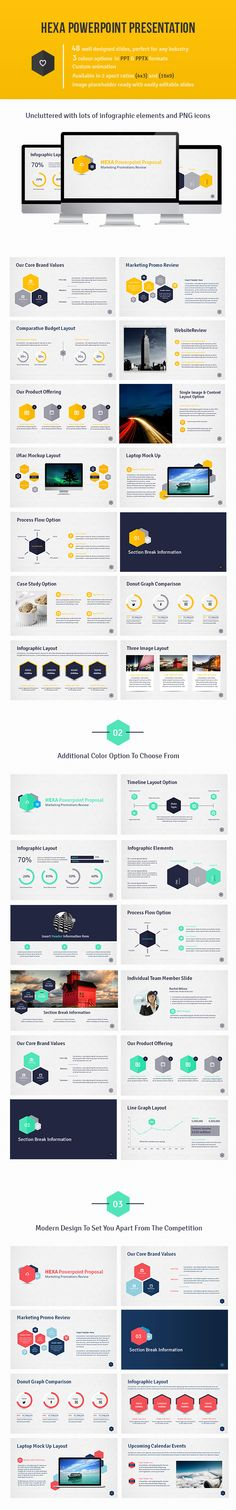 Buy Hexa Powerpoint Presentation by DesignDistrict on GraphicRiver. This Powerpoint Proposal has 48 slides that are easily editable. The hexa design is modern and will set you a part fr. Cool Powerpoint, Business Powerpoint Templates, Powerpoint Presentation Templates, Keynote Template, Microsoft Powerpoint, Presentation Skills, Presentation Layout, Business Presentation, Graphisches Design