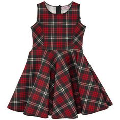 Monnalisa - Flower-shaped tartan neoprene dress - 95752
