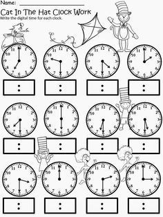 Kindergarten math - Free The Cat In The Hat Clock Work For educational purposes only not for profit Based on the story by Dr Seuss 3 different levels for differentiated instruction Analog and Digital Clocks Enjoy! Regina Davis aka Queen Chaos at Fa Teaching Time, Teaching Math, Teaching Money, Teaching Spanish, Teaching Resources, Teaching Ideas, School Worksheets, Clock Worksheets, 3rd Grade Math Worksheets