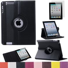 Pandamimi ULAK(TM) 360 Rotating Magnetic PU Leather Case Smart Cover For The New iPad 4 3 2 Generation Tablet with Screen Protector (Black) by ULAK, http://www.amazon.com/dp/B00DOQOC6A/ref=cm_sw_r_pi_dp_Vjn7rb19YYQ4P