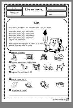 1st Grade Homework, Grade 1 Reading, Read In French, Learn French, Reading Comprehension Activities, Teaching Activities, French Teacher, Teaching French, French Worksheets