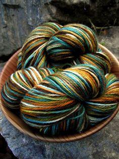Handpainted sock yarn, fingerling yarn, Superwash Wool and Nylon ,100 grams-EUPHROSYNE