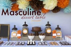 Orange, Brown, Blue dessert table