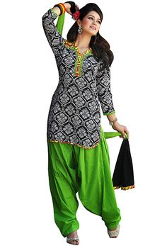 Green Cotton Patiala Salwar Kameez #Indian #Patiala #Salwar #Kameez