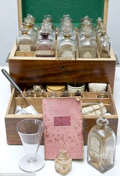 Medicine chest 'time capsule' that reveals the exotic potions used by doctors in 1817.  Perfectly preserved mahogany box found at house in Derbyshire   Comes complete with 29 bottled concoctions  Remedies include Manna, Steers's Opodeldoc and peppermint water. http://www.dailymail.co.uk/news/article-2164411/19th-century-medicine-chest-time-capsule-1817-containing-dozens-exotic-potions-goes-sale.html#