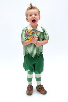 Munchkin from the Wizard of Oz? I think this is Luke's next Halloween costume :)