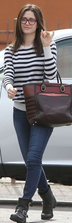 Who made Emmy Rossum's white stripe tee, red handbag, and black ankle boots?