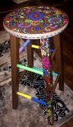 The place to buy and sell all handmade,Hand painted bar stool by on Etsy How To Make Wood Art ? Wood art is typically the job of surrounding about and inside, provided the o. Painted Bar Stools, Hand Painted Chairs, Whimsical Painted Furniture, Hand Painted Furniture, Funky Furniture, Paint Furniture, Upcycled Furniture, Furniture Projects, Furniture Makeover