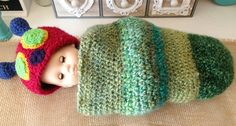 Newborn Hungry Caterpillar Cocoon by NannysKnotsnClocks on Etsy