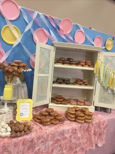 Donut Themed Parent Breakfast decor at Bozarth Elementary School Boo-hoo Yahoo Breakfast